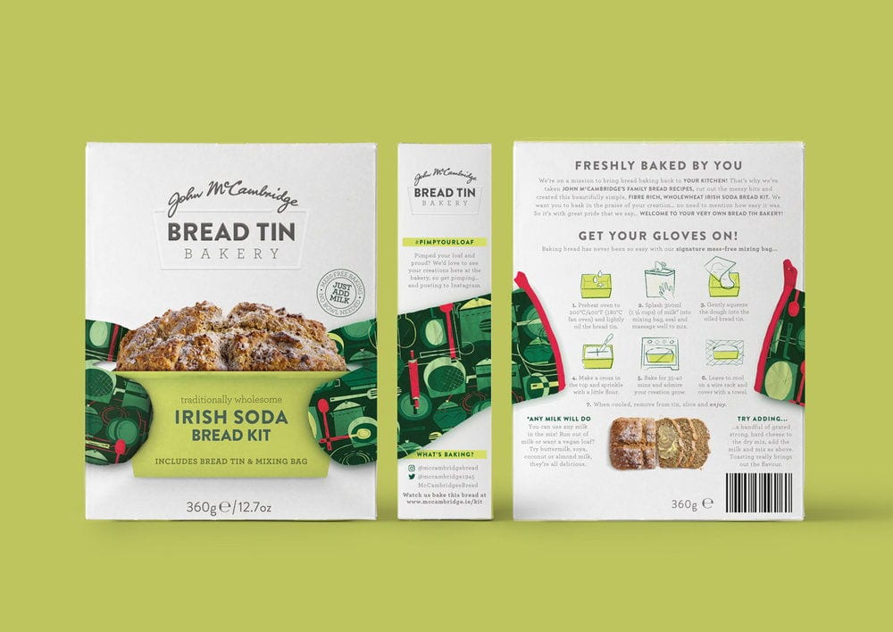 Packaging for Irish Soda Bread showing homestyle photography