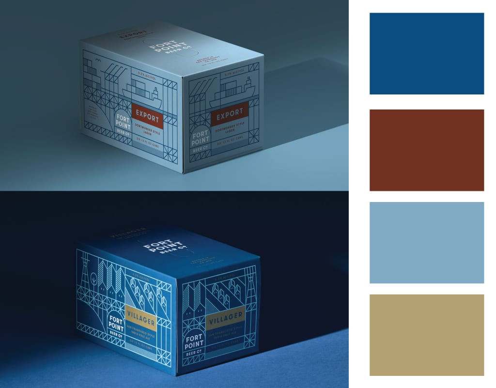 Fort Point Beer Company packaging. Pantone 2020 Color of the Year