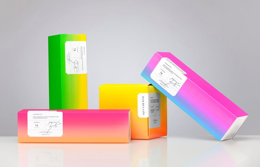 Bright, gradient covered packages